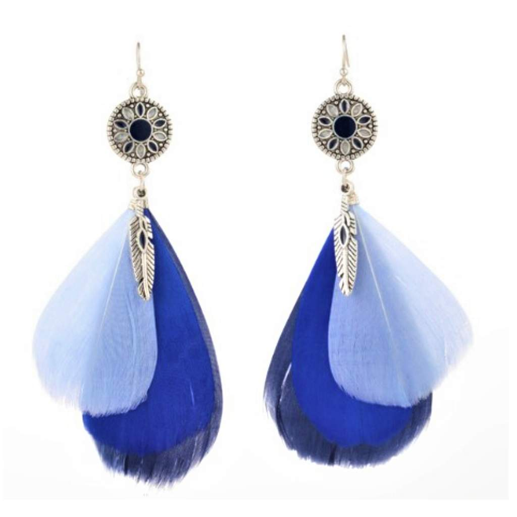 Blue Feather Long Dangle Earrings - JaeBee Jewelry