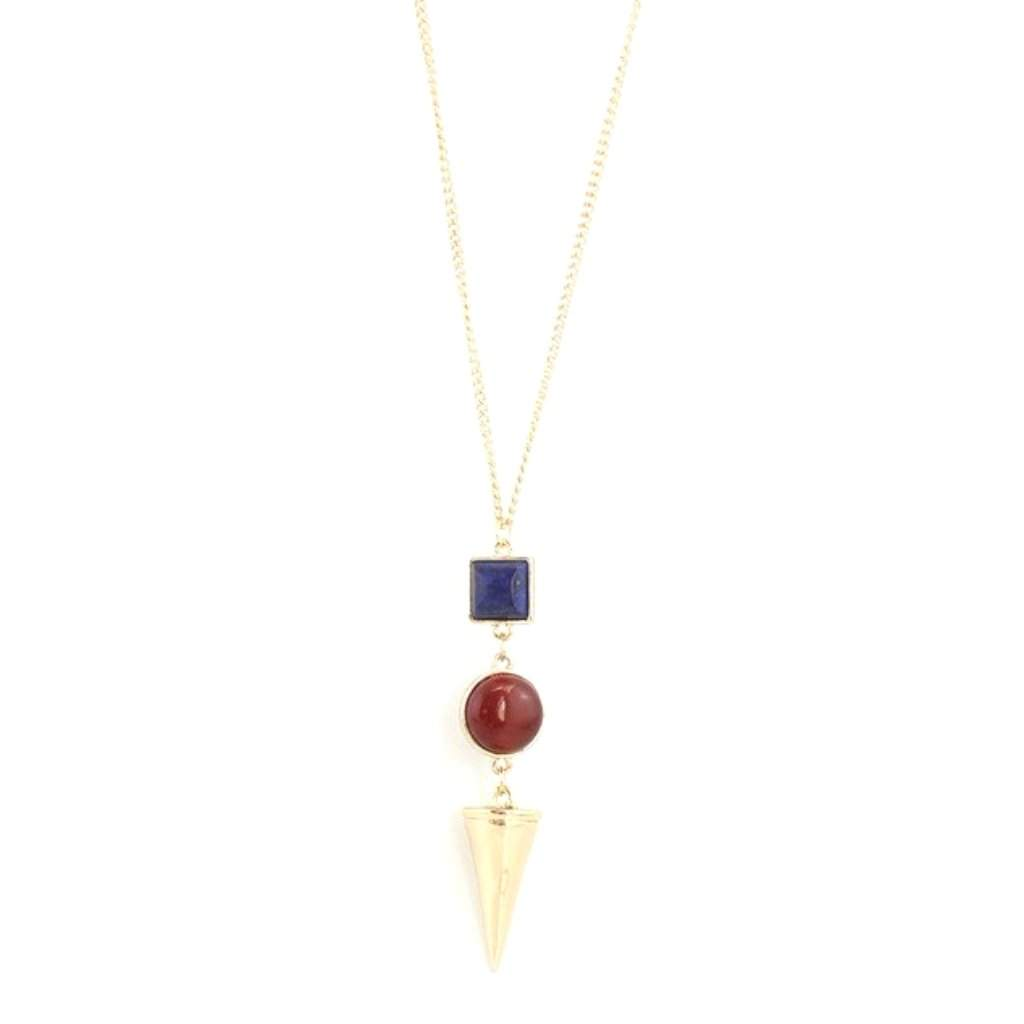 Blue, Red and Gold Cone Pendant Necklace - JaeBee Jewelry