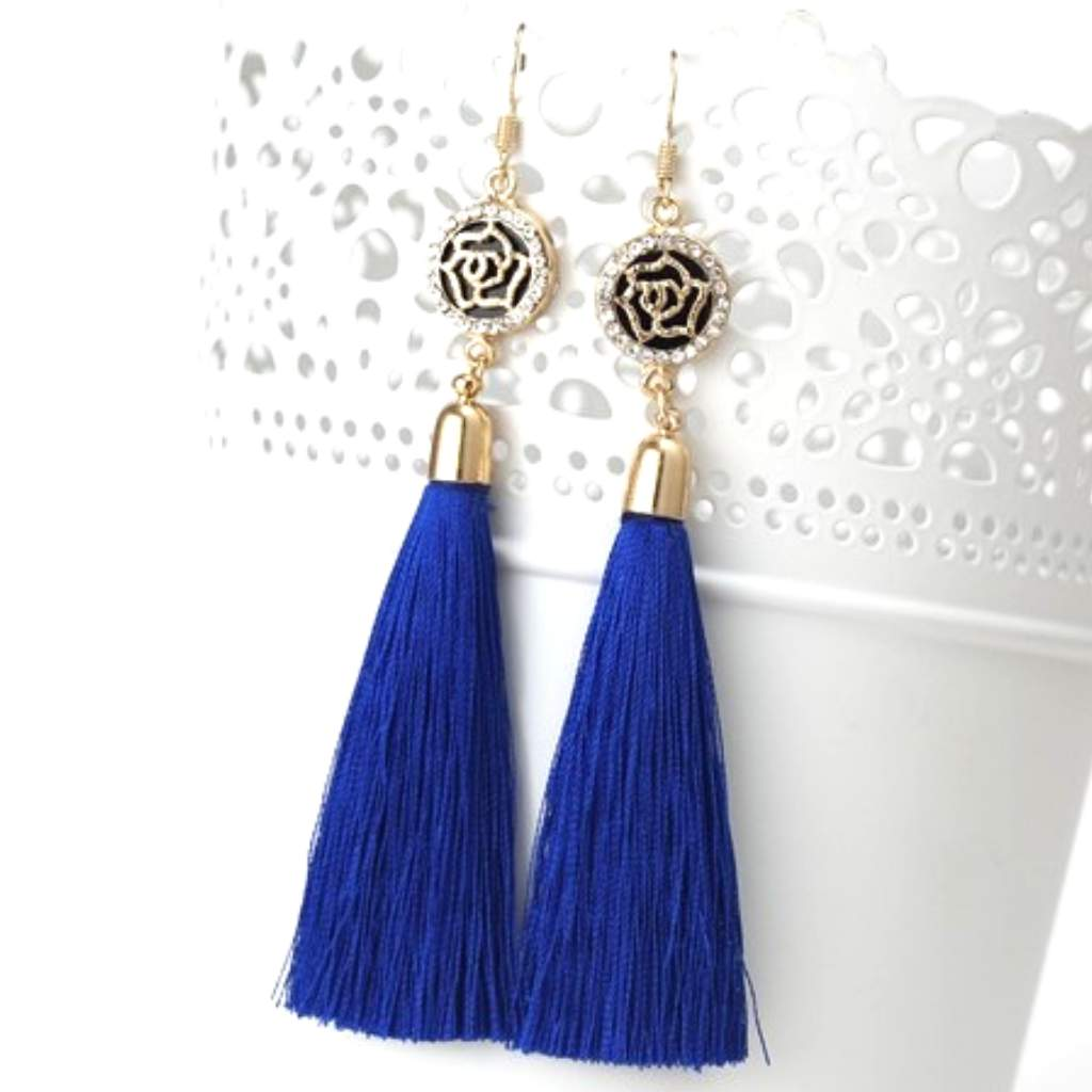 Navy Blue Tassel Earrings with Gold and Crystal Flower Charm - JaeBee Jewelry