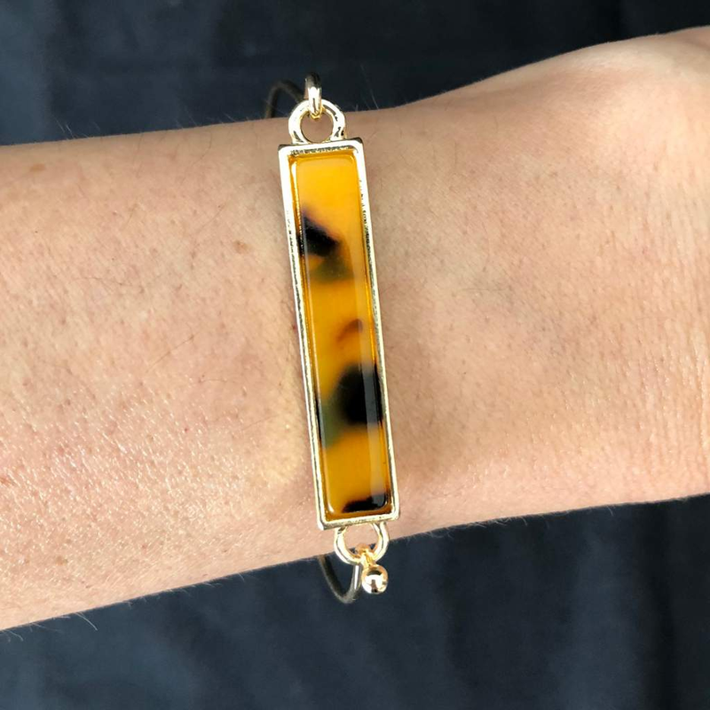 Brown Leopard Gold Bar Bracelet - JaeBee Jewelry