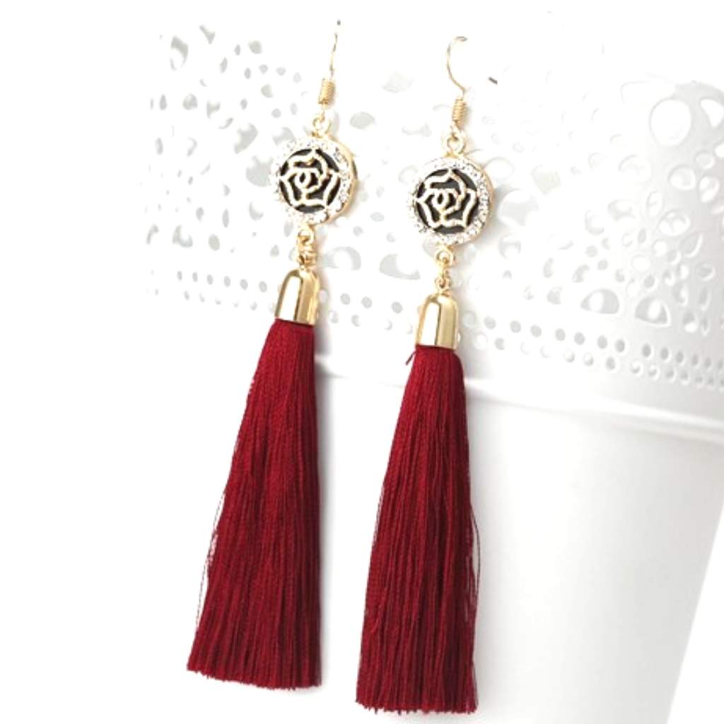 Burgundy Tassel Earrings with Gold and Crystal Flower Charm - JaeBee Jewelry