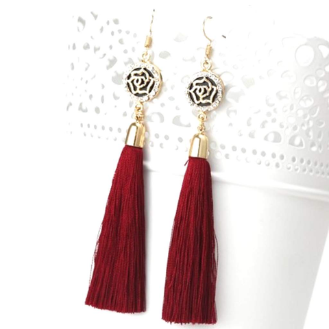 Burgundy Tassel Earrings with Gold and Crystal Flower Charm