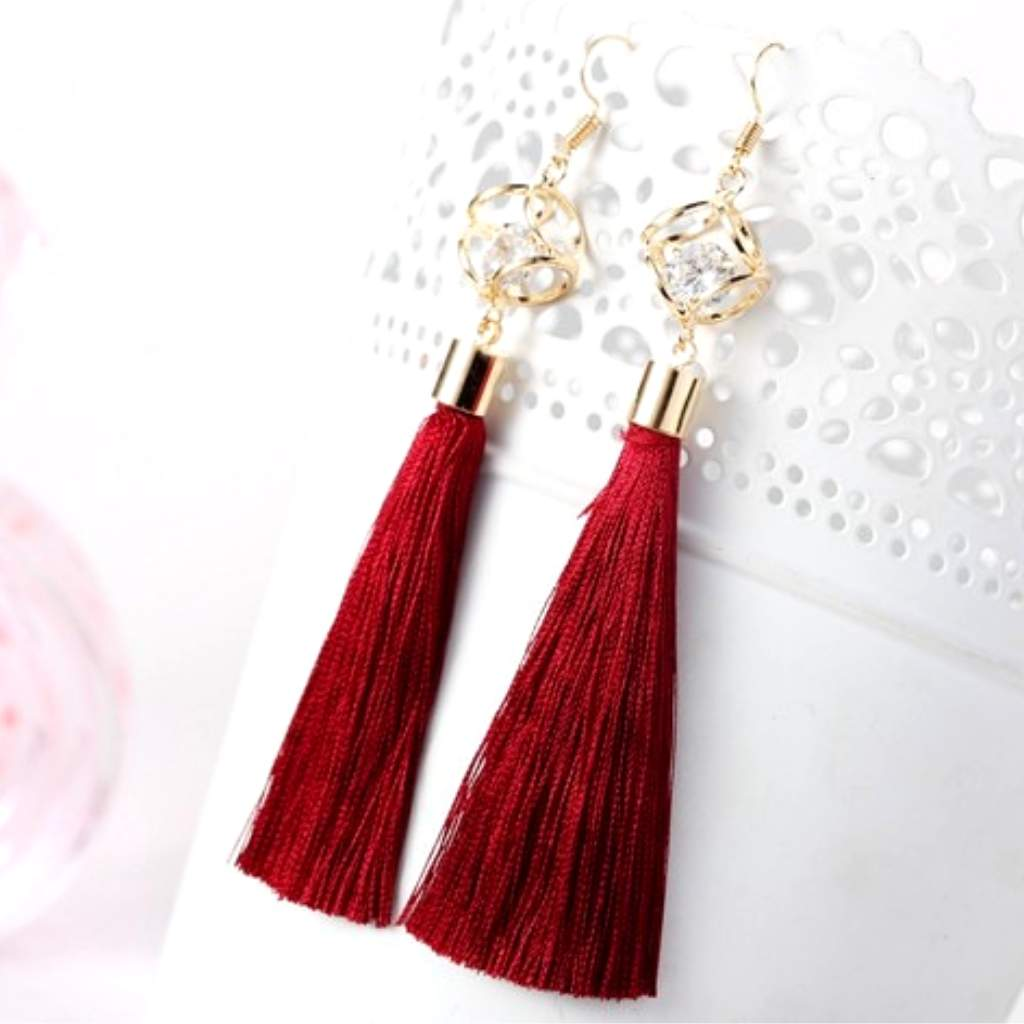 Burgundy Tassel Earrings with Gold Square and Crystal - JaeBee Jewelry