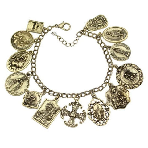 Antique Gold Religious Saints Charm Bracelet