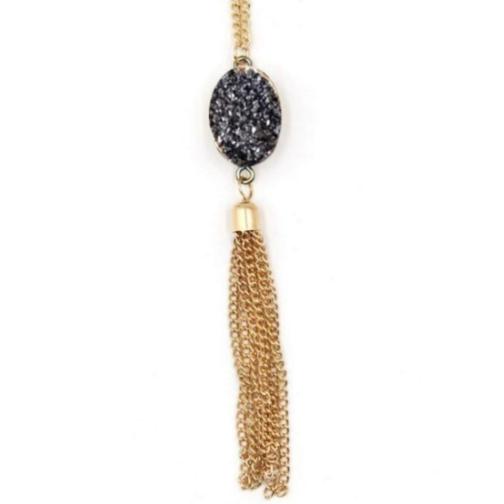 Gray Druzy Pendant and Gold Chain Tassel Necklace - JaeBee Jewelry