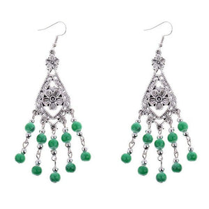 Green and Silver Beaded Flower Dangle Earrings - JaeBee Jewelry