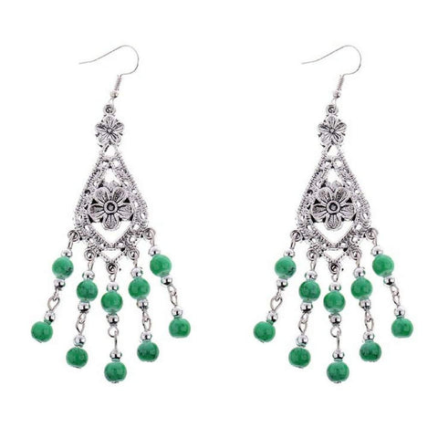 Green and Silver Beaded Flower Dangle Earrings