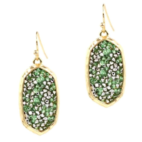 Green Druzy Dangle Earrings
