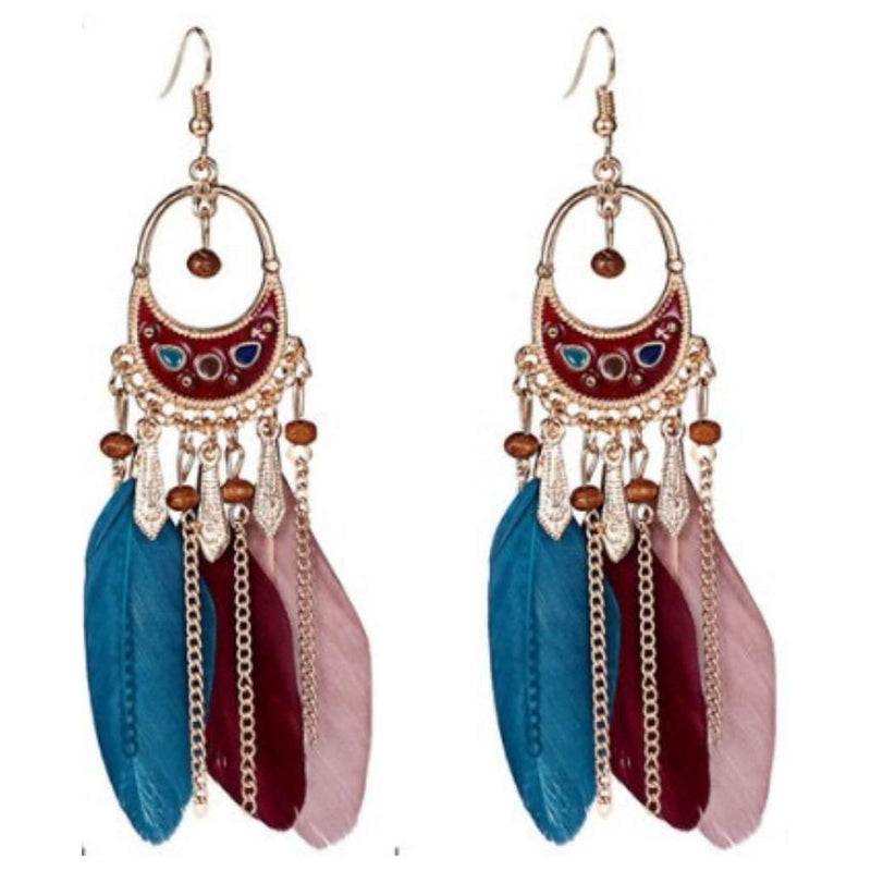 Multi Colored Feather and Gold Boho Dangle Earrings