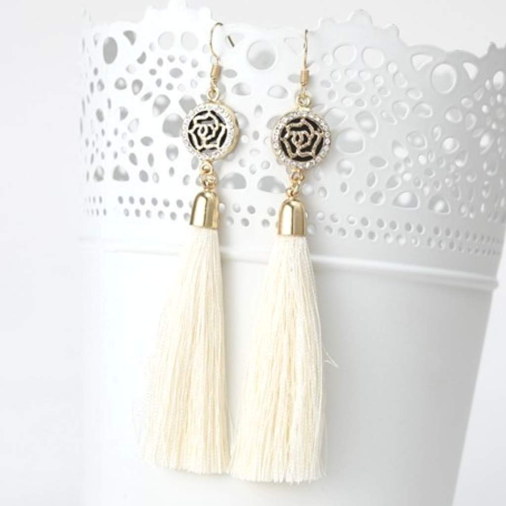 Off White Tassel Earrings with Gold and Crystal Flower Charm - JaeBee Jewelry