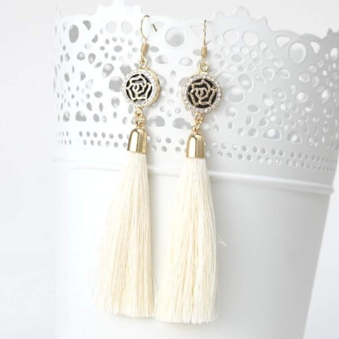 Off White Tassel Earrings with Gold and Crystal Flower Charm