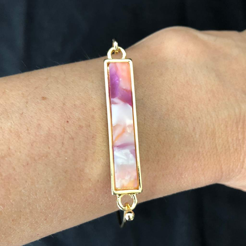 Pink and Purple Marbled Gold Bar Bracelet