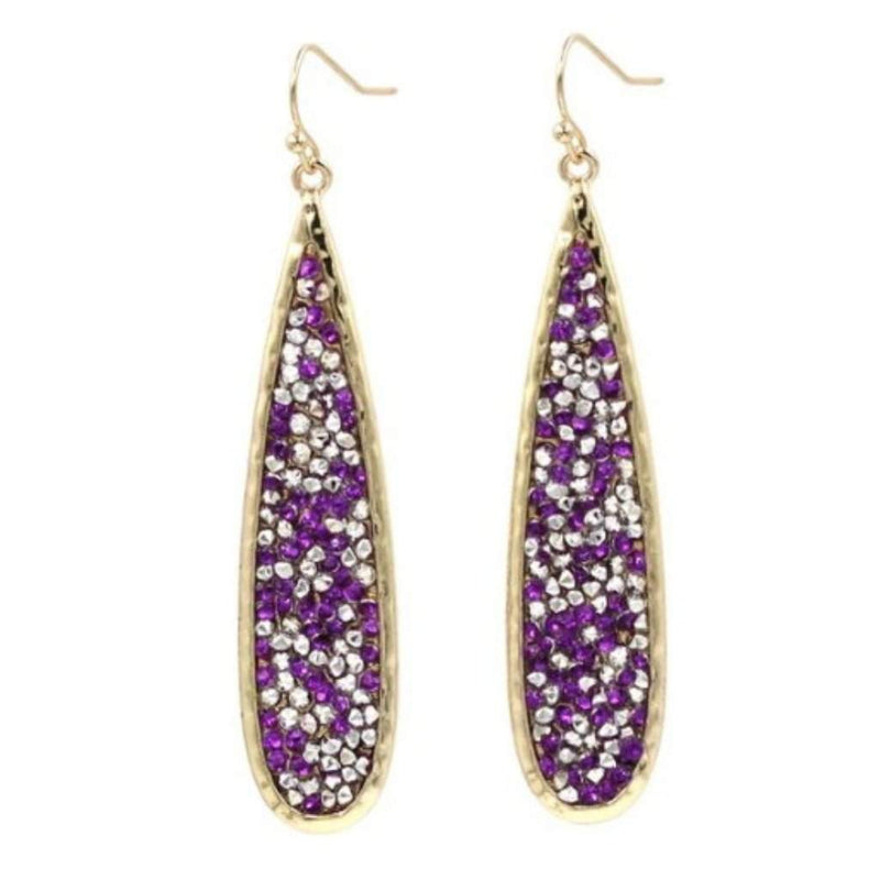 Purple and Clear Crystal Pave Long Teardrop Earrings