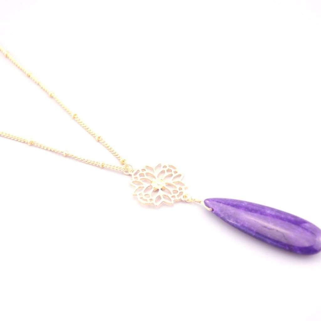Purple Teardrop Long Gold Chain Necklace - JaeBee Jewelry