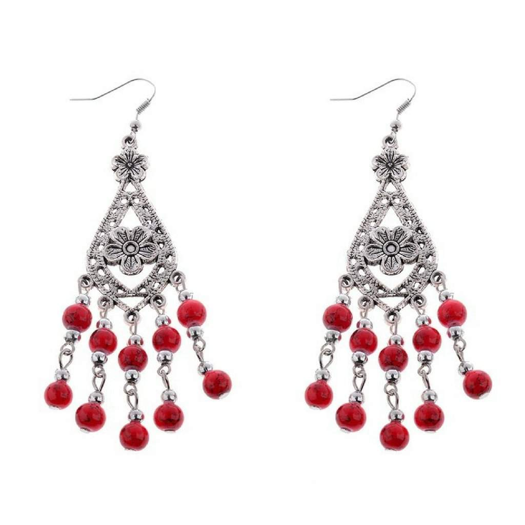 Red and Silver Beaded Flower Dangle Earrings