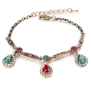 Red and Green Teardrop Gold Antique Chain Bracelet - JaeBee Jewelry