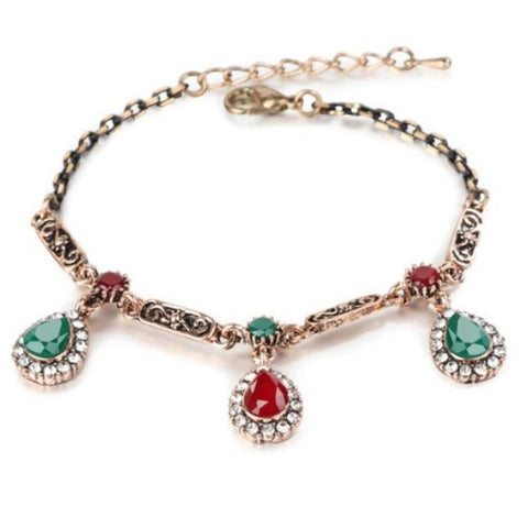 Red and Green Teardrop Gold Antique Chain Bracelet