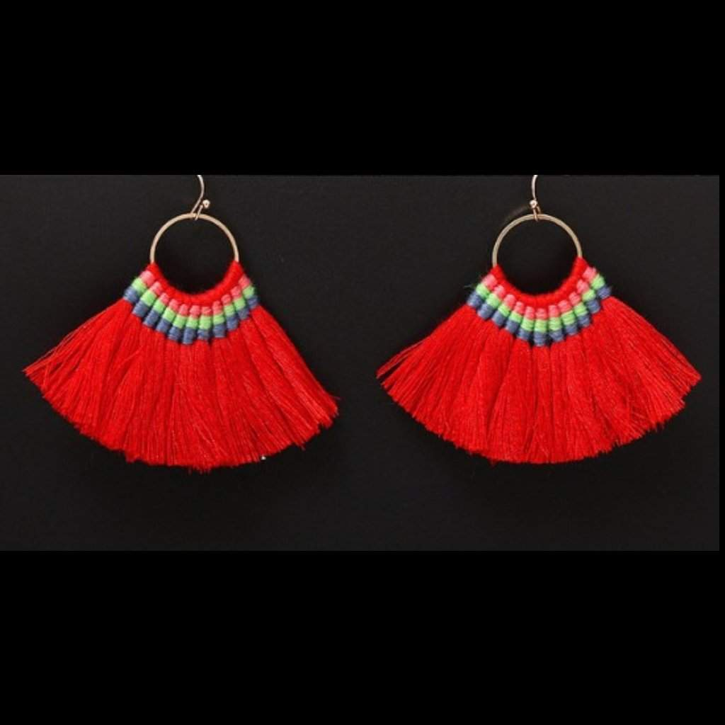 Red Tassel Fan Dangle Earrings