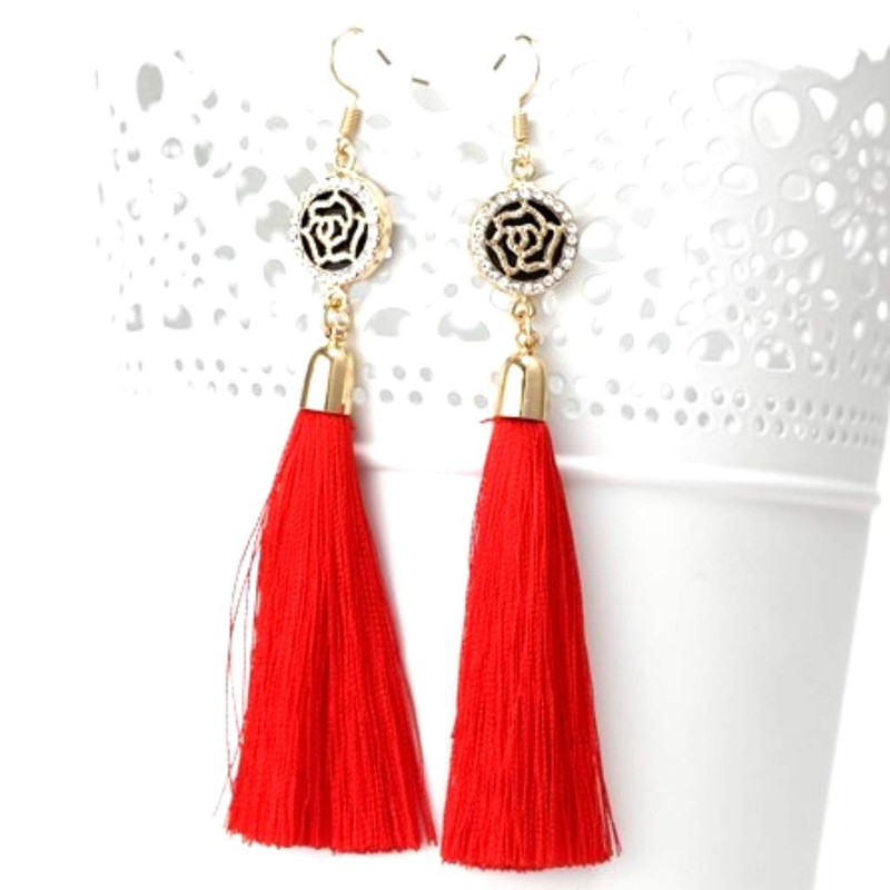 Red Tassel Earrings with Gold and Crystal Flower Charm - JaeBee Jewelry