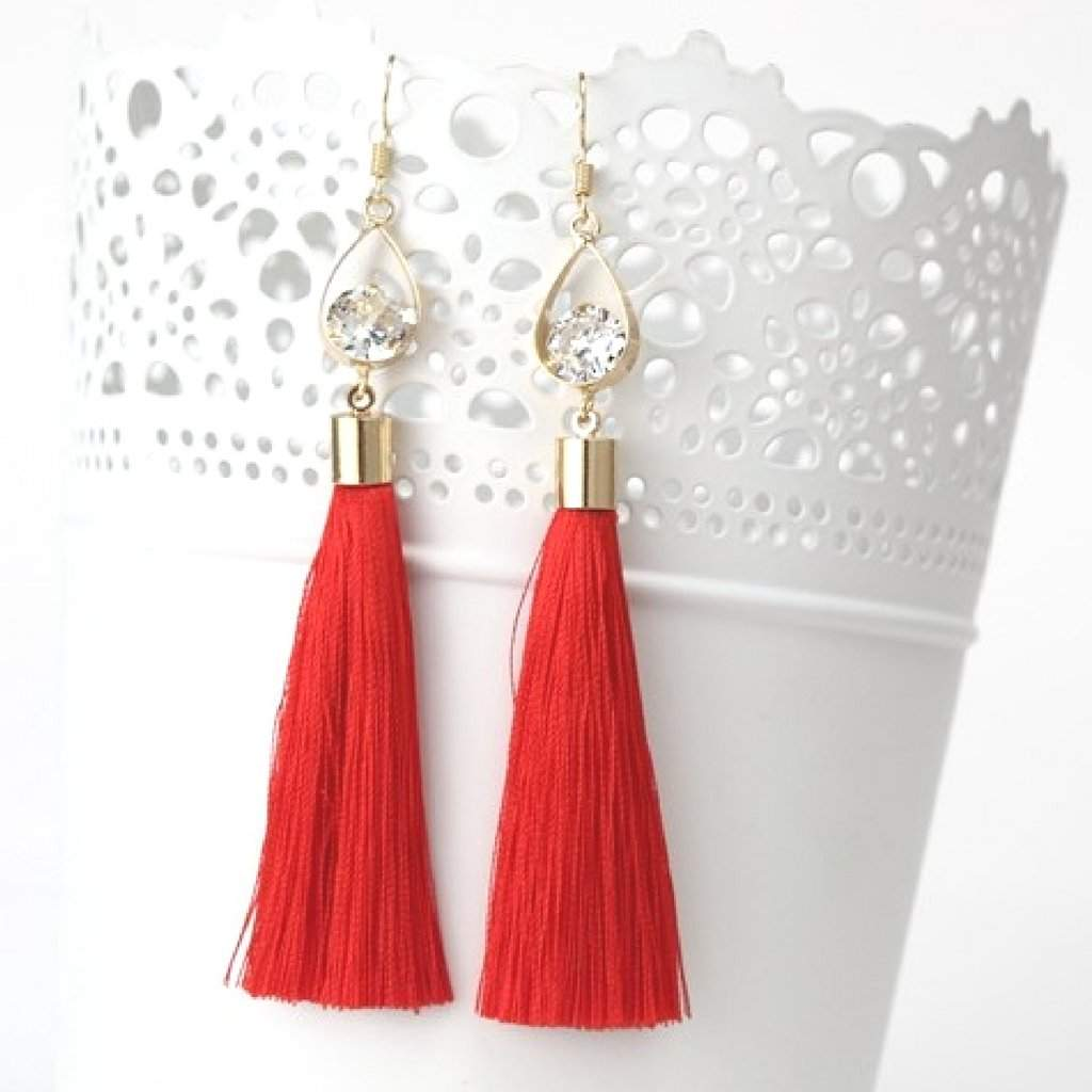 Red Tassel Earrings with Gold Oval and Crystal - JaeBee
