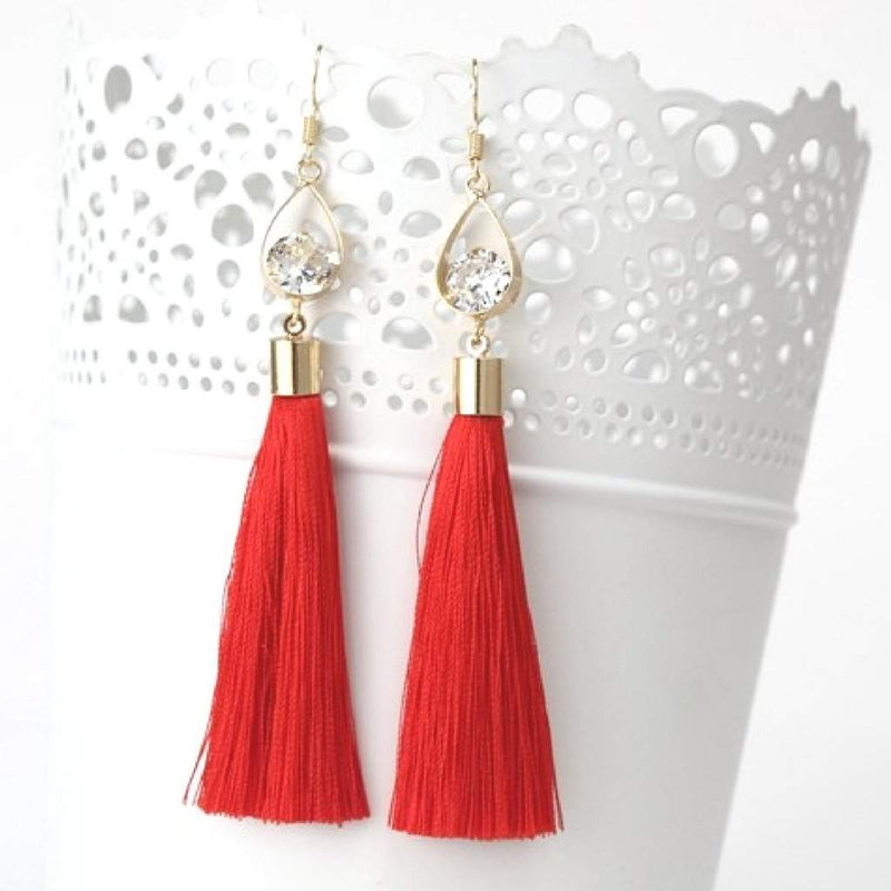 Red Tassel Earrings with Gold Oval and Crystal - JaeBee Jewelry
