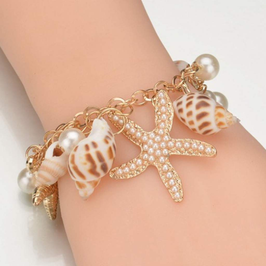 Shell Layered Gold Chain Bracelet - JaeBee Jewelry