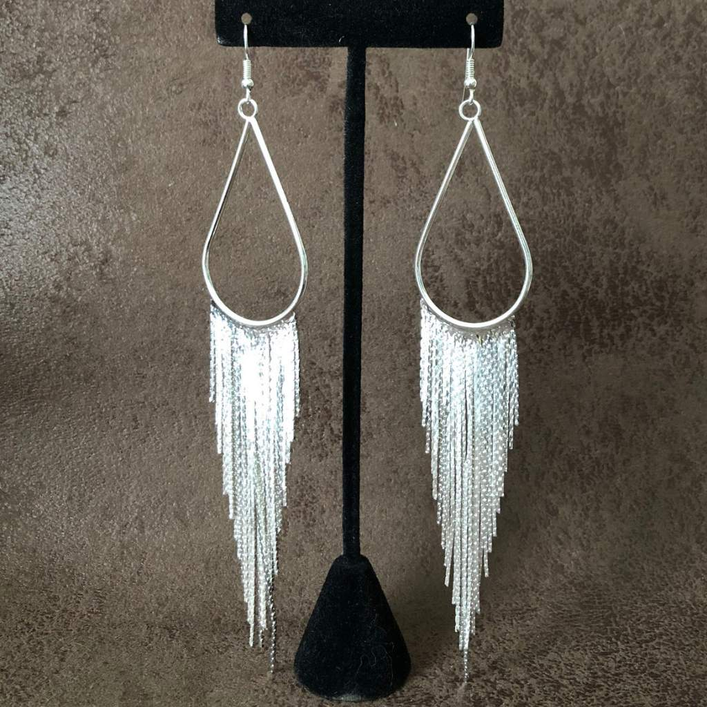 Silver Teardrop and Long Chain Dangle Earrings - JaeBee Jewelry