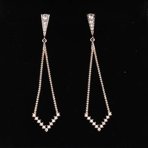 Silver and Cubic Zirconia Long Dangle Earrings
