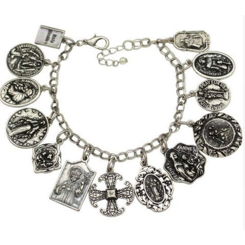 Antique Silver Religious Saints Charm Bracelet