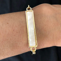 White Marbled Gold Bar Bracelet