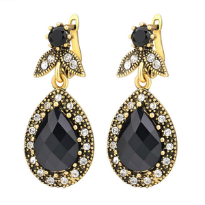 Antique Black Teardrop Dangle Earrings