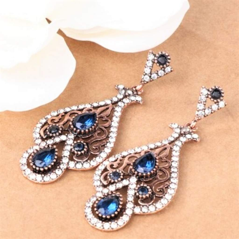Antique Gold Blue Fancy Drop Earrings