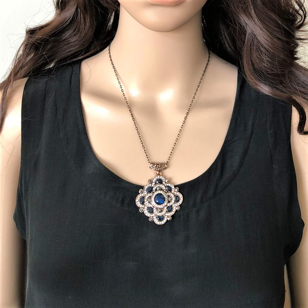 Antique Blue and Clear Crystal Geometric Necklace - JaeBee Jewelry