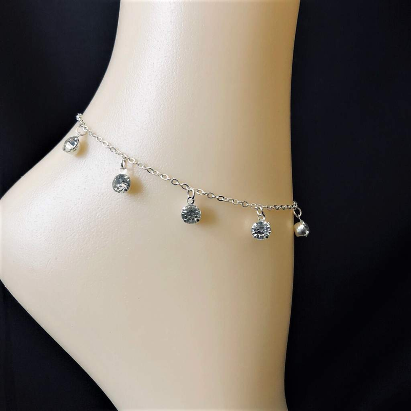 Crystal Silver Chain Anklet - JaeBee Jewelry