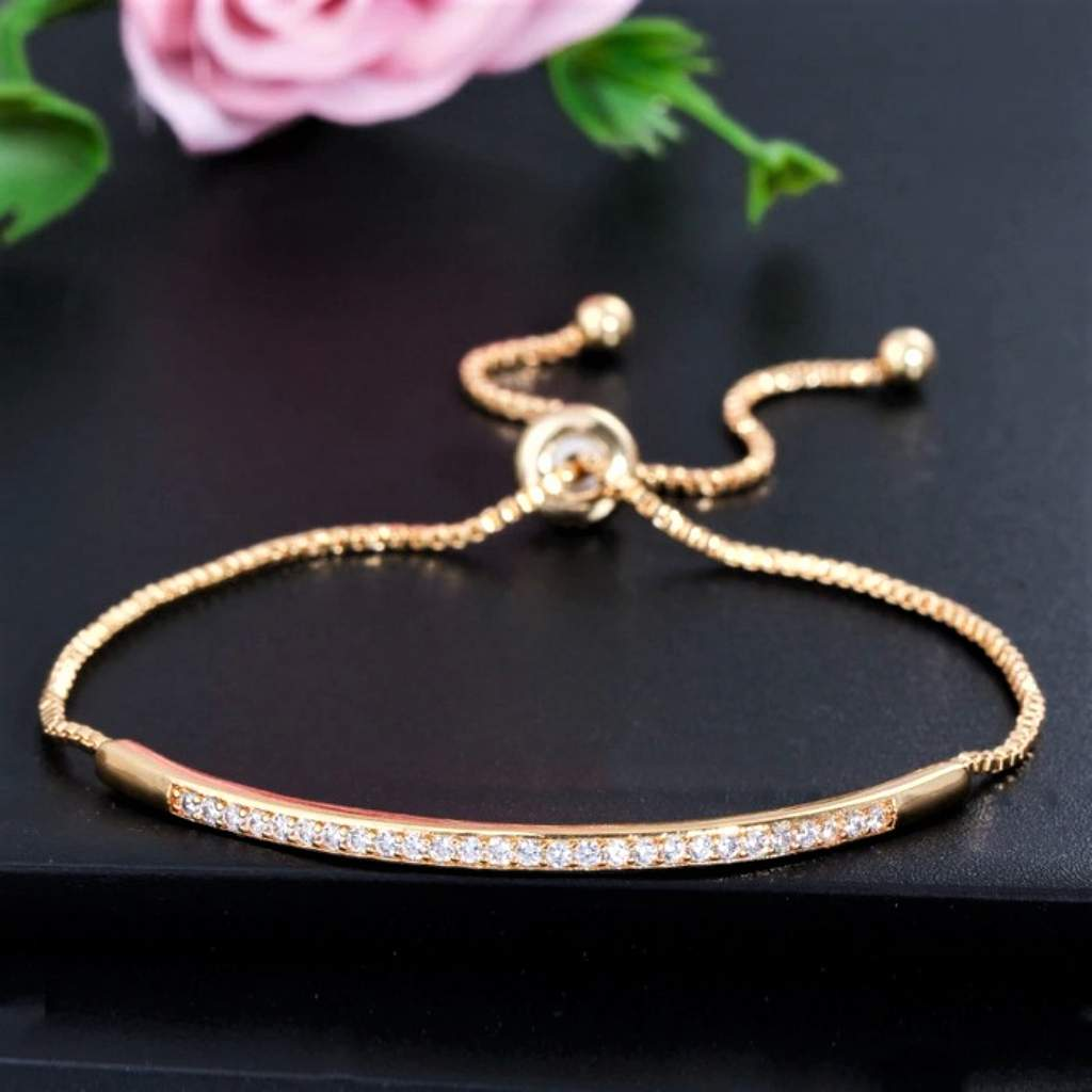 Gold or Silver CZ Bar Adjustable Bracelet