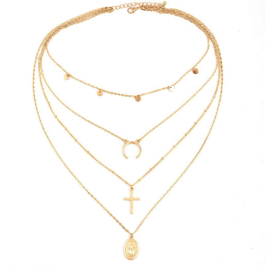 Gold Layered Cross, Mother Mary, and Crescent Necklace - JaeBee Jewelry