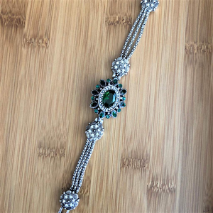 Green Crystal Antique Silver Bracelet - JaeBee Jewelry
