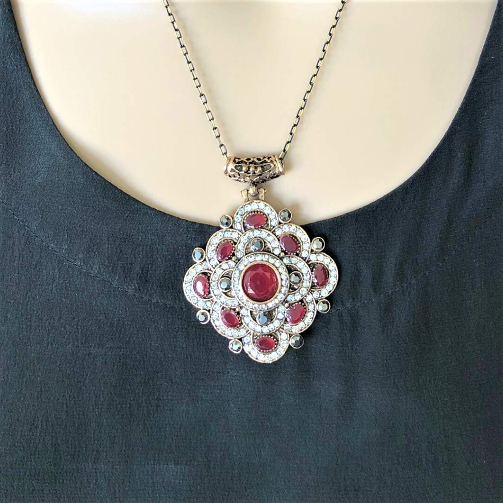 Antique Red and Clear Crystal Geometric Necklace - JaeBee Jewelry