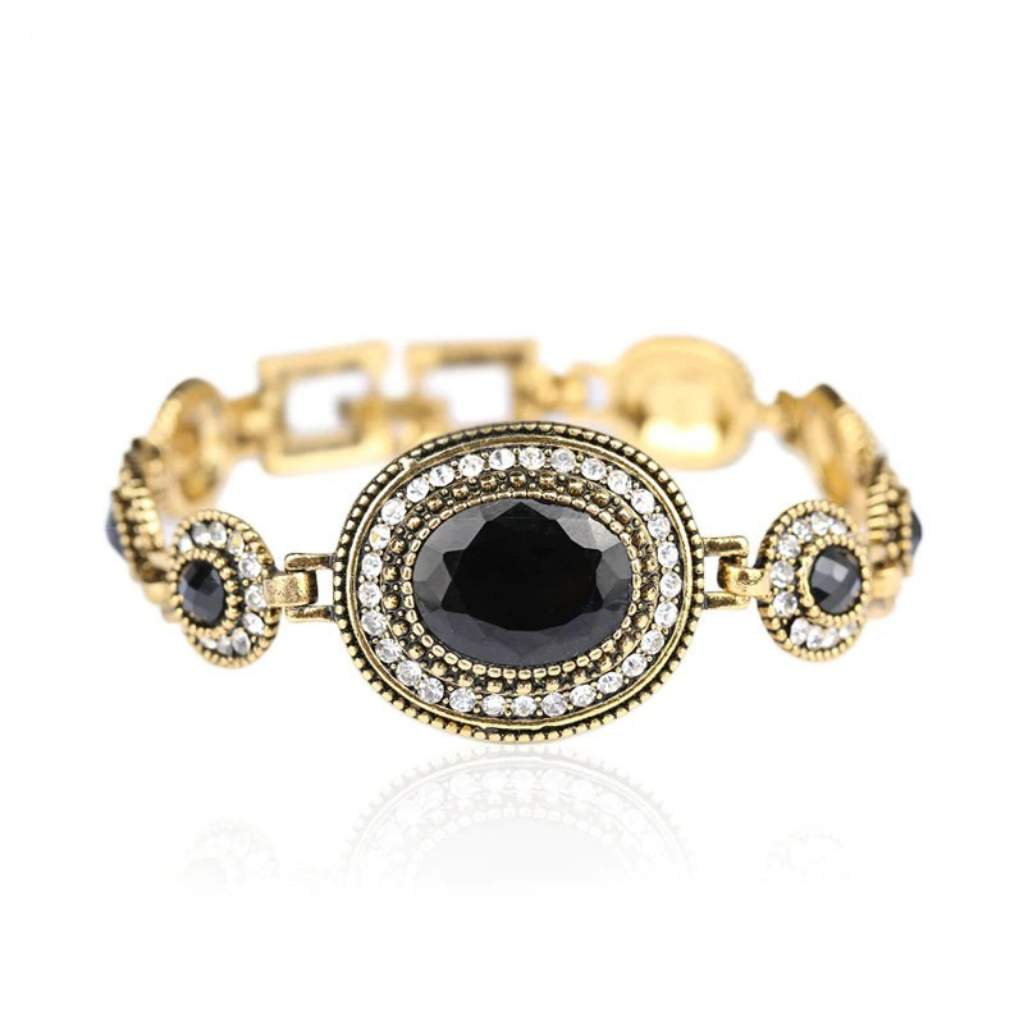Black Crystal and Gold Link Antique Bracelet