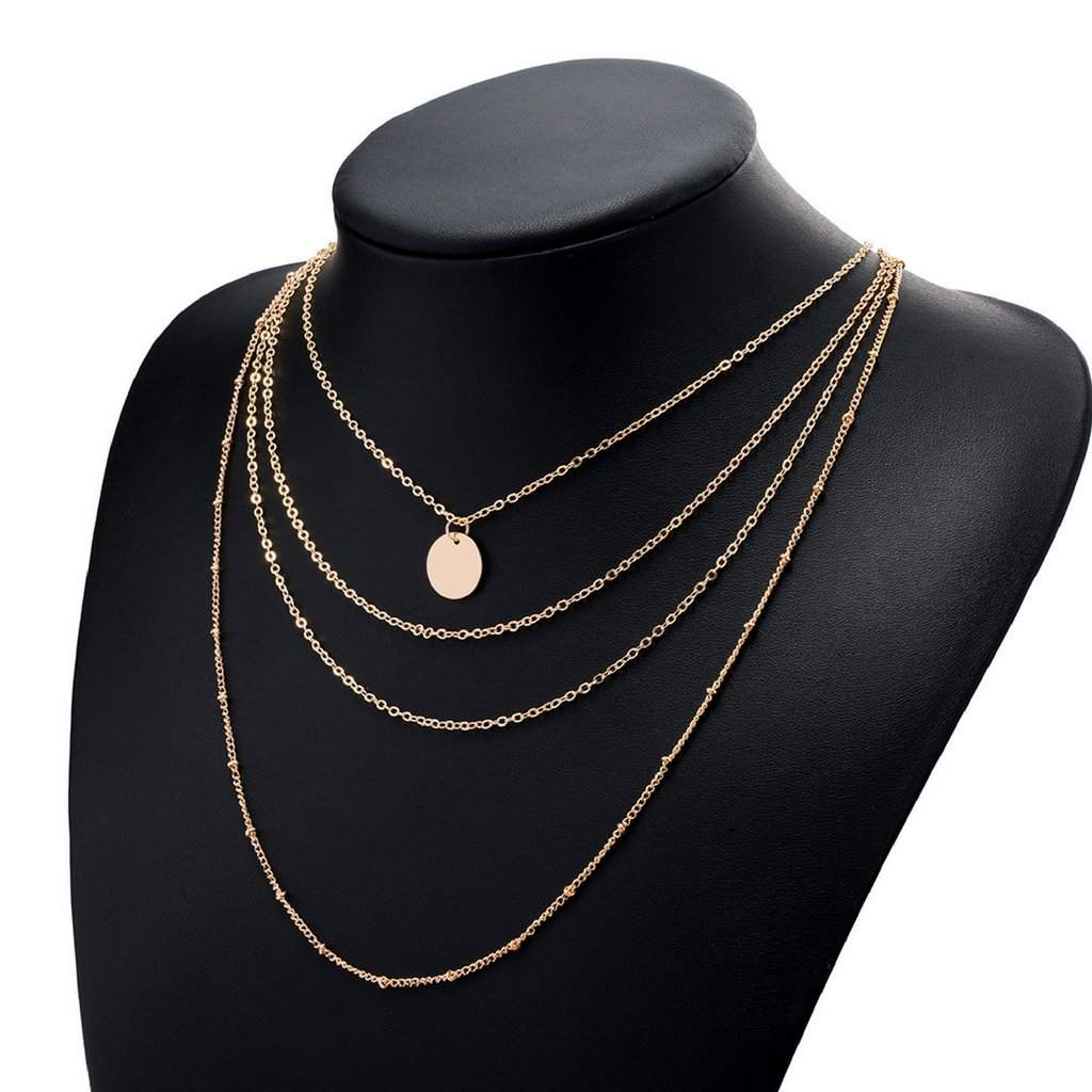 Gold Layered Disc and Chain Long Necklace - JaeBee Jewelry