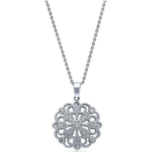 Sterling Silver CZ Flower Filigree Pendant - JaeBee Jewelry