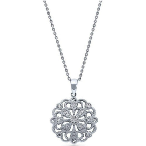 Sterling Silver CZ Flower Filigree Pendant