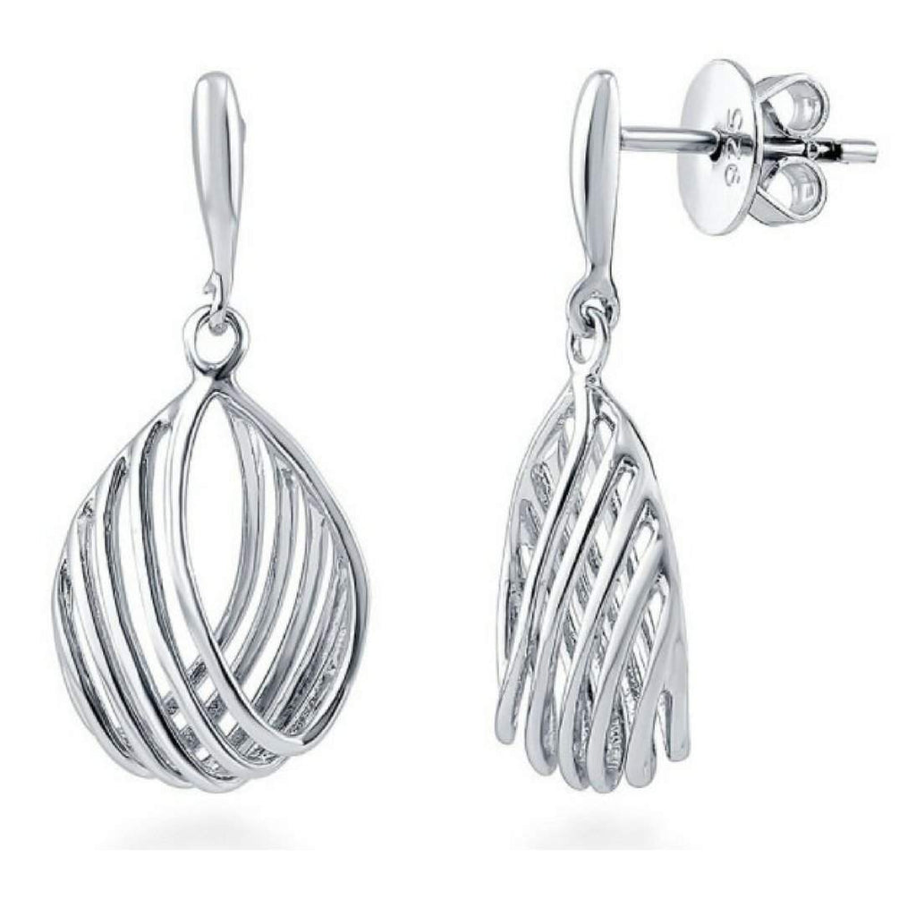 Sterling Silver Woven Oval Earrings