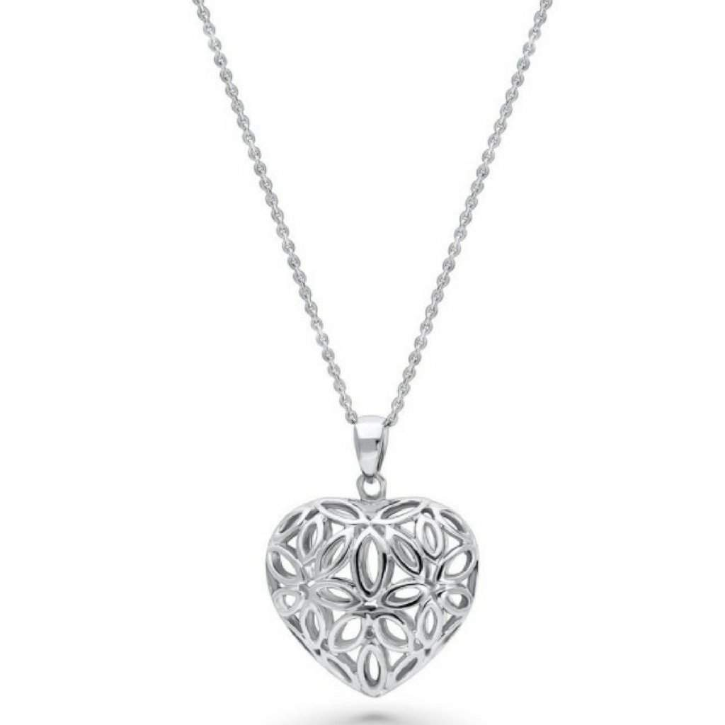 Sterling Silver Filigree Flower Heart Necklace - JaeBee Jewelry