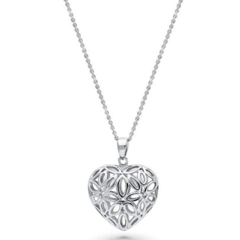 Sterling Silver Filigree Flower Heart Necklace