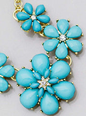 Teal Flower Statement Necklace - JaeBee Jewelry