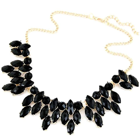 Black Crystal Collar Necklace
