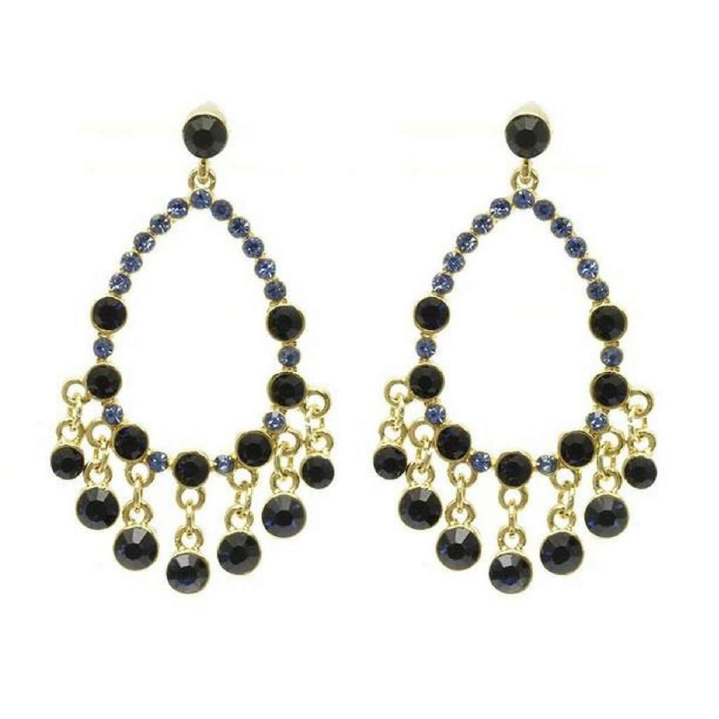 Blue Crystal Teardrop Dangle Earrings - JaeBee
