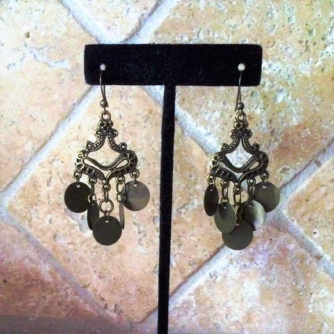 Boho Brass Chandelier Earrings