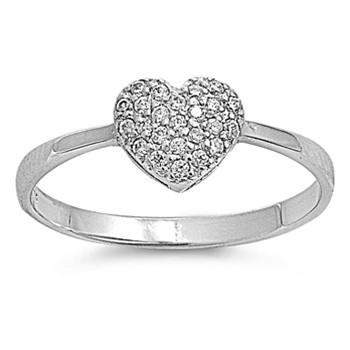 CZ Heart Sterling Silver Ring